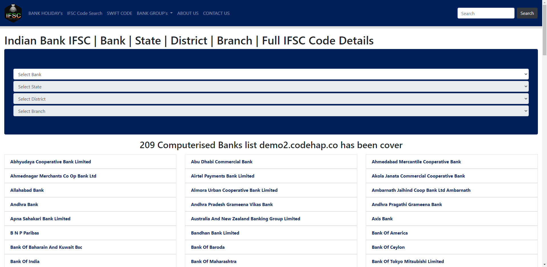 CodeHap.com Bank IFSC Code Php Api Script