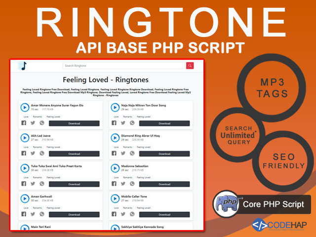 Ringtone API Base PHP Script with MP3 Tags