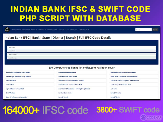 Indian Bank Ifsc And Swift Code Php Script With Database